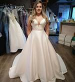 V-Neck Bridal Sleeveless Satin  Wedding Dress