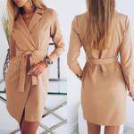 Casual Turn Down Collar Long Sleeve  Blazer Dress