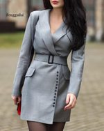 Long Sleeve Belt A Line Collar Blazer Dress