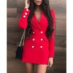 Slim Fit Elegant Notched Neck  Blazer Dress
