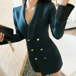 Elegant Fashion Sexy Deep Collar Patchwork Blazer Dress