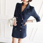 Double Button Fringe Sheath  Blazer Dress