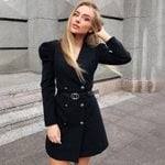 V Neck Long Sleeve Puff Slim High Waist Elegant Blazer Dress