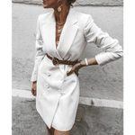 Office Lady Long Sleeve Notched Blazer Dress