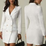 Slim Fit Long Sleeve Lapel Collar Blazer Dress