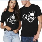 Crown Printing Casual O-neck  Couples T Shirt