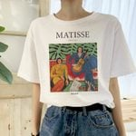 loose casual short sleeve cartoon art print fashion letter T-shirt