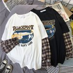 Leisure Plaid patchwork graphic Long Sleeve t-shirt