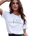 Short Sleeve Love Printed Casual O-neck T-Shirts
