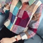 Casual Cotton Slim Long Sleeve Plaid Shirt Blouse