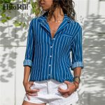 Turn-Down Collar Office  Long Sleeve Striped Blouse