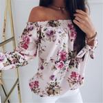 Casual Loose Print Fashion Short Sleeve Off Shoulder Floral Blouse