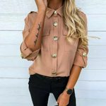 Long Sleeve Button Long Tunic Fashion Casual Baggy Casual Blouse