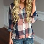 Long Sleeve  Plaid Button Pocket Lapel Blouse