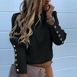 Button Patchwork Long Sleeve O-neck Blouses
