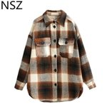 long sleeve checked woolen turn down collar plaid wool blouse