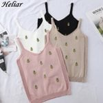 Knitted Short Slim Elastic Pineapple Embroidery V-Neck Tank Tops