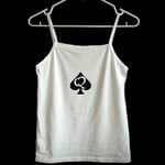 print sleeveless casual slave queen of spades tank top