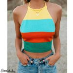 Rainbow Sexy Knit Halter Backless Sleeveless Tank Tops