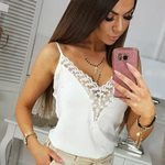 Off Shoulder Pullover Sexy Lace V-neck Sleeveless Casual Tanks Top