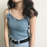 Fashion Slim Knitting Ruffled V-neck Camis
