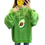 Loose Cartoon Avocado Printed Puff Sleeves Pullover Hoodies