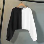 Short Pullover Long Sleeve Splice Sweatshirt