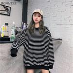 Elastic Cuff Hem O-Neck Striped Loose Retro Soft Sweatshirts