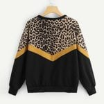 Casual Long Sleeve Leopard Print O-neck Tops Sweatshirt