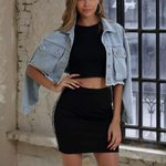 Fashion Long Sleeve Button Stretch Short Denim Jacket