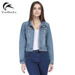 Long Sleeve Hole Short  Vintage Denim Jacket