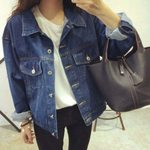 loose casual Outwear  Basic Denim Jacket