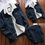 Vintage Long Sleeve Loose Button Thick Fluffy Upset Denim Jacket