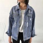 Fashionable Loose Turn-down Collar Retro Denim Jacket