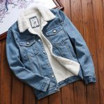 Vintage Loose Front Button Flap Pockets Fur Denim Jacket