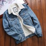 Vintage Loose Front Button Flap Pockets Fur Denim Jacket