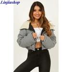 warm padded  short windbreaker Hooded cotton jacket