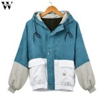 Corduroy Overcoat Button Long Sleeve Zipper Windbreaker Jacket