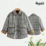 Plaid cotton  3/4 sleeve Lapel Parker stripe cotton jacket