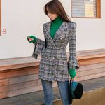 Plaid Tweed Double Breasted Long Sleeve turn down Collar Jacket