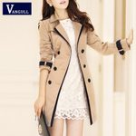 Turn-down Collar Double Breasted Patchwork Fashion Thin Trench Coat