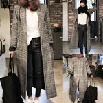 Long Sleeve Plaid Long Casual Knitted Cardigan Coats
