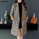 Plaid Pockets Long Slim Lapel Long Sleeve  Wool Coats
