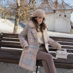 fashion warm blends elegant Double Breasted woolen coat