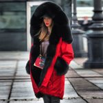 fur collar Thick Warm Hooded Cotton Padded Coat