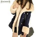 Wool Slim Double Breasted Wool Fur Coat