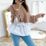 Patchwork Loose Casual Fashion Ruffled knitted Sweater