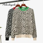leopard fashion wool blends pullover Knitted Sweater
