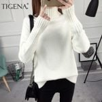 Long Sleeve Knitted Pullover Thick Warm Turtleneck Sweater