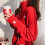 Turtleneck Pullover  Casual Heart Embroidery Knitted Thick Sweaters